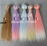Wholesale Bjd Wig Mohair - 2pieces lot Wig refires bjd hair mohair 20cm*100CM straight gradual change color wig hair for 1 3 1 4 BJD DIY