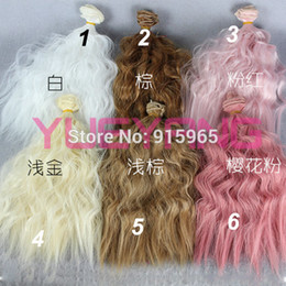 Wholesale Wholesale Bjd Wig - 2 pieces lot bjd hair 25cm*100CM curl and straight brown falxen white green blue purple pink wig hair for 1 3 1 4 BJD DIY