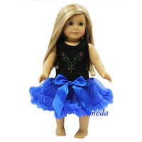 "Wholesale Girls Pettiskirt Tops - Wholesale 1 Lot of 5 pc 18"" American Girl Doll Black Tank Top Blue Pettiskirt Anna Costume Party Dress"