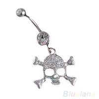 Wholesale Wholesale Naval Rings - Skull Crossbone Dangle Belly Button Naval Rings Body Fashion Jewelry 14 Gauge 0091