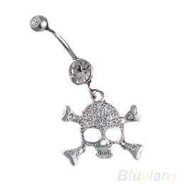 Wholesale Naval Rings - Skull Crossbone Dangle Belly Button Naval Rings Body Fashion Jewelry 14 Gauge 0091
