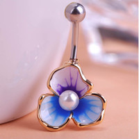 Wholesale Tunnel Piercing Ring - Fashion Gold Navel Ring Enamel Esmalte Pearl Body Feminino Umbigo Body Piercing Flower Surgical Steel Jewelry Tunnels Belly Ring