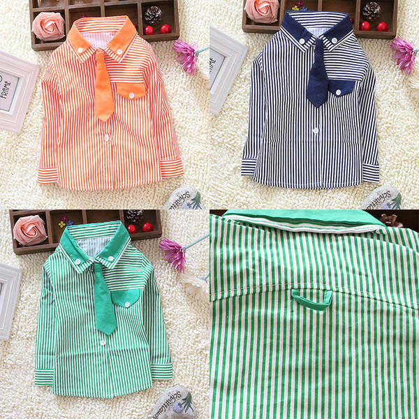top popular Toddler Kids Boys Striped Long Sleeve Dress Shirt W Solid Necktie Tops S M L XL 2020