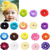Wholesale Wholesale Gerbera Daisies For Hair - handmade Gerbera daisy flower hair shabby flower headbands baby photo props infant headbands for st patricks day wholesale