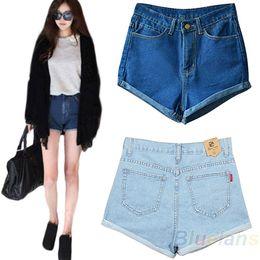 Wholesale Lady Flange - 2015 Fashion Women Lady Retro Denim High Waist Flange Blue Jean Shorts Short Trousers S-XL Free Shipping 00W1
