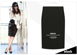 Wholesale Wholesales Office Skirts - European High Street Female Slim Pencil Skirts Plus Size Package Hip Casual Office Lady Tight Saias Feminina Skirt 8026
