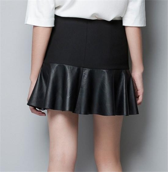 bf332e1206f Woman Casual MINI Skirt Ladies Faux Leather Pleated Sexy Skirt ...