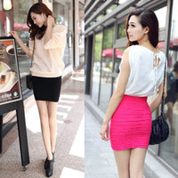 Wholesale Wholesale Red High Low Skirts - Women Slim Fit Bandage High or Low Waisted Stretch Short Pleated Fashion Pleated Mini Skirt, 9 Colors Available, Free Shipping.