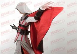 Wholesale Cosplay Ezio White - Assassin's Creed 2 II Ezio White Anime Cosplay Costume Luxury Version Full Set By ASCOSing