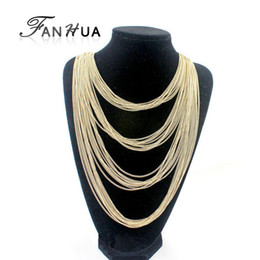 Wholesale Multi Layer Necklace Body Chain - Gold Silver Color Multi-layers Necklace Body Chains Tassel Long Necklace Corrente De Ouro