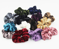 Wholesale Hair Elastic Ponytail - Retail 6PCS Velvet Hair Scrunchies elastic Spring Hair Bands Ties Ponytail Holder Free Shipping