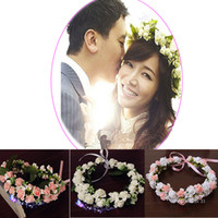свадебный венок для волос оптовых-Free Shipping Korea Style Girl Rose Flower Bridal Wreath Bridesmaid Headdress Hair Accessories