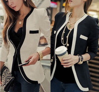 Wholesale Womens Office Jacket - Womens Slim Suit Coat Blazer Jacket Button Fashion Office Lady Suit Coat free shipping