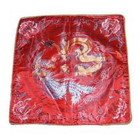 capas de almofada de padrão vermelho venda por atacado-Barato Vermelho Étnico Travesseiro Capa de Almofada para o Assento Do Sofá Cadeira Do Carro 18 polegada Decorativo Estilo Chinês Dragão De Seda Padrões de Travesseiro caso 2 pçs / lote