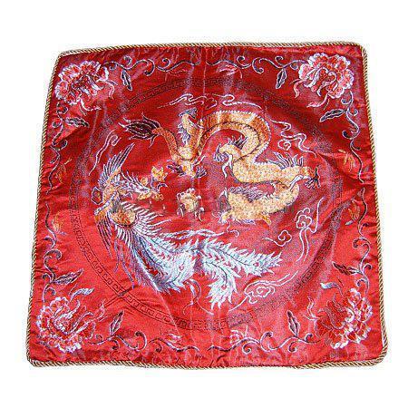 Acheter Housse De Coussin Oreiller Ethnique Rouge Pas Cher Pour Canapé Chaise De Siège Voiture 18 Pouces Décoratif Style Chinois Soie Dragon Motifs