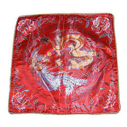 Wholesale Car Print Fabric - Cheap Red Ethnic Pillow Cushion Cover for Sofa Seat Chair Car 18 inch Decorative Chinese Style Silk Dragon Patterns Pillow case 2pcs lot