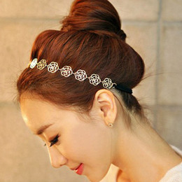 Wholesale Retail Dish - 10 pc Women Hairbands Retail Korean bijoux fashion gold Hollow out a rose Dish hair hair band Gold Color