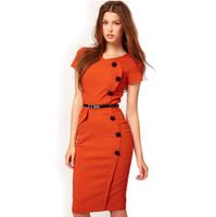 vestidos de negócios negros para as mulheres venda por atacado-Primavera Verão Estilo Empresarial Botão Contraste Verde Rosa Vermelho Preto Mulheres Escritório Vestido Na Altura Do Joelho 531