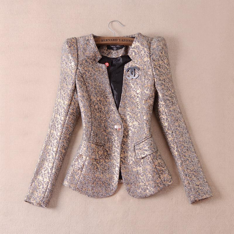 2017 2015 Spring Women'S Gold Blazer Vintage Long Sleeve V Neck ...