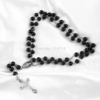 Wholesale Mens Rosaries - Wholesale-Mens Beckham Cross Pendant Black Rosary Beads Necklace Brand New