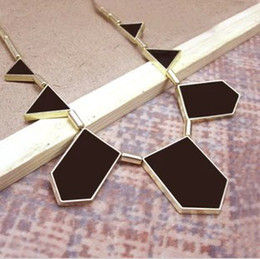 Wholesale Mixed Geometric Necklace - Wholesale-[Mix 5USD]Free shipping~2015 New Arrivals Jewelry,Fashion vintage House of Harlow Black Leather Geometric Stations Necklace X089