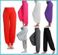 Wholesale Elastic Female Long Boots - Sports High Waist Women Solid Harem Flare Pant Belly Sweatpant Elastic Waist Dance Club Boho Wide Loose Long Trousers Female