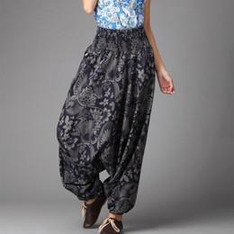 Wholesale Harem Style Pants Women - National crotch pants hanging wide leg pants Boho style unisex India Nepal harem pants casual trousers fabric pants