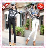 Wholesale Womens Plus Size Winter Leggings - womens black trousers 2015 autumn winter new fashion sexy slim pencil pants women elastic leggings high waist pants plus size
