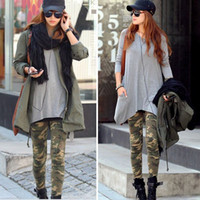 Ladies Slim Pants Graffiti Style Camouflage Stretch Army Tig...