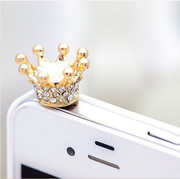 Wholesale Dustproof Plug Crown - Wholesale-Luxury Crown 3.5MM Dustproof Plug For iPhone iPad Samsung HTC Dust Plug Cap