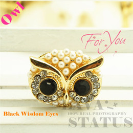 Wholesale Iphone4 Accessories - Wholesale-Free Shipping Cell Phone Accessories Jewelry Full Crystal Pearl Owl Charms Cute Phone Anti Dust Plug Cap For Iphone4 5 3.5mm