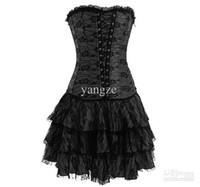 ingrosso corde di cincherina vita-Commercio all'ingrosso - abito corsetto gotico delle donne sexy della ragazza con il G-string disossati allacciano il Cincher Bustier cinture Tulle 5