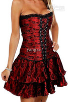 Wholesale Gothic G String - Wholesale - Sexy Girl's Women's Gothic Corset Top Dress with G-string Boned Lace Up Waist Cincher Bustier girdles Tulle Flower 5