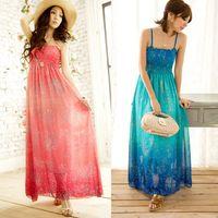 Wholesale Dropshipping Dresses - Women Chiffon Long Maxi Dress Bohemia Floral Print Spaghetti Strap Summer Beach Freeshipping Dropshipping