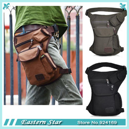 Wholesale Black Drop Leg Bag - Men outdoor Canvas drop waist leg bags waist pack bag Men running belt bicycle and motorcycle Money Belt Fanny pack