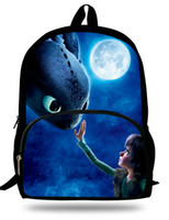 Wholesale camel cartoon - 16-inch Cartoon Backpack Toothless Hiccup Design 3D How to Train Your Dragon Backpack Kids School Bags For Boys Mochila Menino