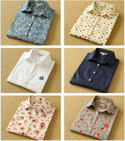 Wholesale Dot Funding - Ladies shirts of new fund of 2015 autumn winters, collar, long sleeves, dot, color printing, OL woman pure cotton shirt