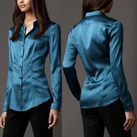 белые атласные рубашки для женщин оптовых-S-XXXL женская мода шелк атласная блузка кнопка дамы шелковые блузки рубашка повседневная офис белый черный синий с длинным рукавом атласная топ