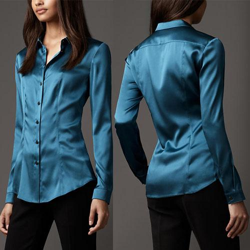 S-XXXL mujeres de seda de la manera botón de la blusa de seda señoras blusas de seda camisa oficina casual Blanco negro azul de manga larga de satén