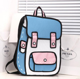 Wholesale Comic Paper - New 3D Jump Style 2D Drawing From Cartoon Paper Bag Comic Backpack Bag