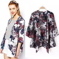 Wholesale Chiffon Longsleeve Shirt - 2015 Fashion Kimono Cardigan Women Summer Autumn LongSleeve Shirt European Style Chiffon Blouse Floral Print BlouseSV07 SV006090