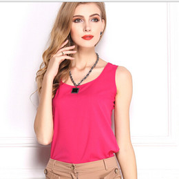 Wholesale Shirt Chiffon Neon - 2015 Fashion Summer Women's Clothes Chiffon Sleeveless Solid Neon Candy Color Causal Chiffon Blouse Shirt Women Top Plus Size