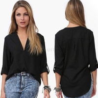 Wholesale Loose Chiffon Blouse V Neck - WOMEN sexy deep V-neck loose Casual Shirt Women Spring Summer Chiffon V-neck Blouse female chiffon topsLong-sleeved v-neck loose snow spins