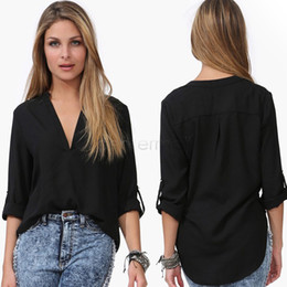 Wholesale Chiffon Batwing Blouses - WOMEN sexy deep V-neck loose Casual Shirt Women Spring Summer Chiffon V-neck Blouse female chiffon topsLong-sleeved v-neck loose snow spins