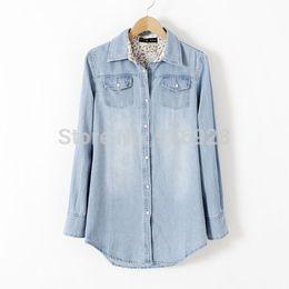 Wholesale Ladies Denim Shirt Xl - Plus Size Denim Shirt Jeans Blouse Women Blouses & Shirts Ladies Clothes Female Shirts Clothing Spring 2015 New