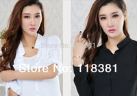 Wholesale Black Button Down Shirt Womens - Women Button Down Shirts Lapel Tops Fashion Womens Casual Long Sleeve Stand Collar Pocket Blouses Size L-XL Free shippping