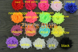 """Wholesale Mini Shabby Chic Flowers - Wholesale-100pcs lot 18colors Free shipping Mini 1.5"""" Chic Shabby Frayed Flower without clip Children Hair Accessories DIY Headbands"""