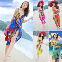 Wholesale Cover Ups For Women Wholesale - New Fashion Beachwear Chiffon Vestidos Wrap Swimwear Bikini Cover Up Swimsuit Beach Dress For Women Bohemian Dress Push Up 25