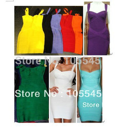 Wholesale Celebrities Spaghetti Dresses - Bandage Spaghetti Strap Sweetheart Luxury Bandage dresses Evening Celebrity Prom Clothing yellow black orange purple white blue