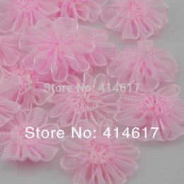 Wholesale Wholesale Craft Organza Flowers - 100 pcs Organza Ribbon flower Wedding Deco Appliques Sew Craft Upick A033